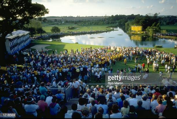 General view of the crowd during the final day of the Ryder Cup at The Belfry Golf Club in Sutton Coldfield, England. The event finished in a 14-14...
