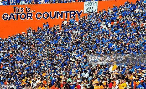 A general view of the crowd during the game between the Tennessee Volunteers and the Florida Gators at Ben Hill Griffin Stadium on September 19 2009...