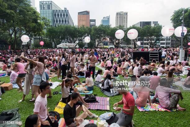 General view of the crowd during the Pink Dot event held at the Speaker's Corner in Hong Lim Park on June 29 2019 in Singapore