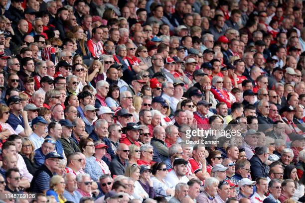 A general view of the crowd during the Premier League match between Southampton FC and Huddersfield Town at St Mary's Stadium on May 12 2019 in...