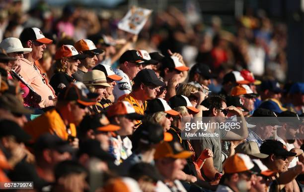 A general view of the crowd during the round four NRL match between the Wests Tigers and the Melbourne Storm at Leichhardt Oval on March 26 2017 in...