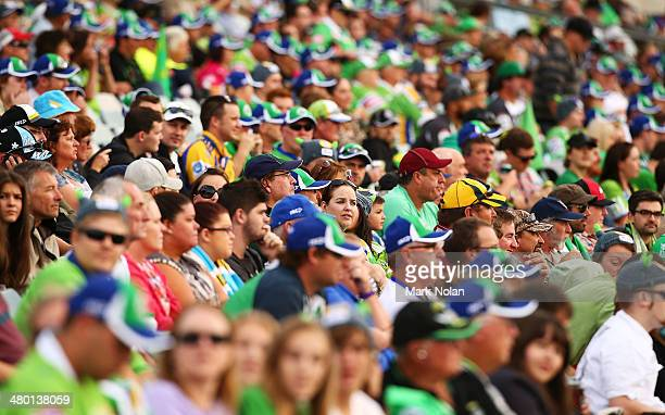General view of the crowd during the round three NRL match between the Canberra Raiders and the Gold Coast Titans at GIO Stadium on March 23, 2014 in...