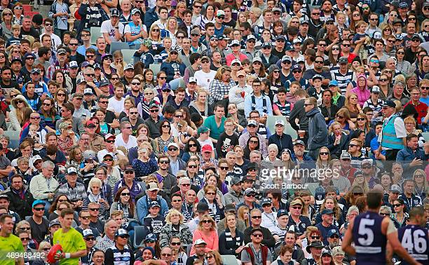 A general view of the crowd during the round two AFL match between the Geelong Cats and the Fremantle Dockers at Simonds Stadium on April 12 2015 in...