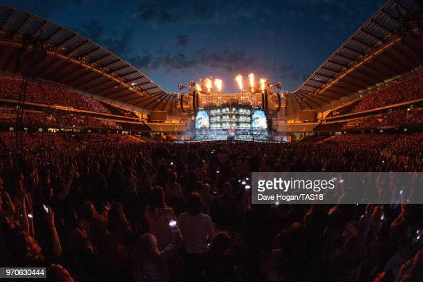 A general view of the crowd during the Taylor Swift reputation Stadium Tour at Etihad Stadium on June 9 2018 in Manchester England