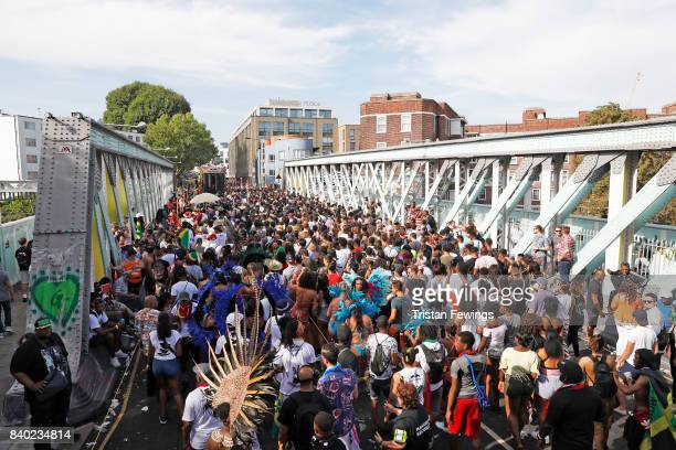 General view of the crowd from the Red Bull Music Academy x Mangrove float at Notting Hill Carnival on August 28 2017 in London England