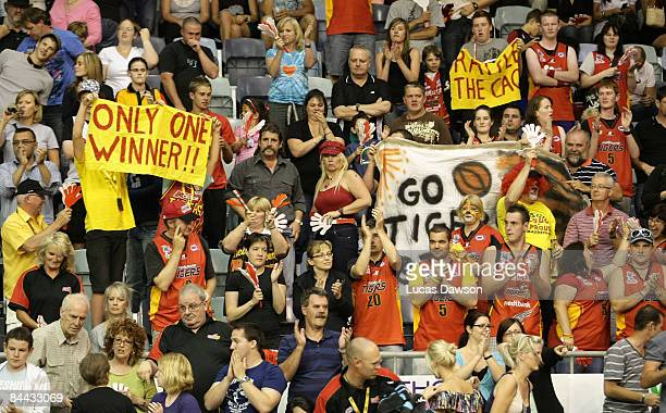 General view of the crowd in action during the round 19 NBL match between the Melbourne Tigers and the New Zealand Breakers held at the State Netball...