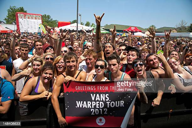 A general view of the crowd in front of the 'Kia Soul Stage' right before the band 'New Found Glory' went onstage during the 2012 Vans Warped Tour at...