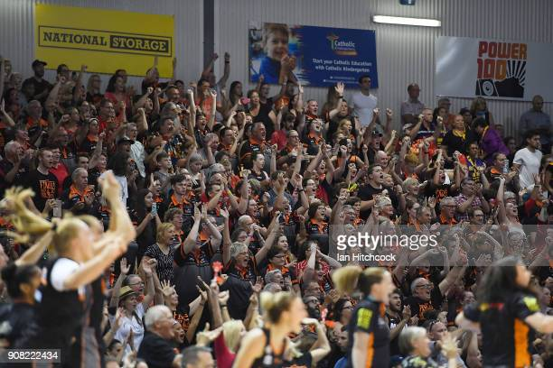 A general view of the crowd is seen celebrating during game three of the WNBL Grand Final series between the Townsville Fire and Melbourne Boomers at...