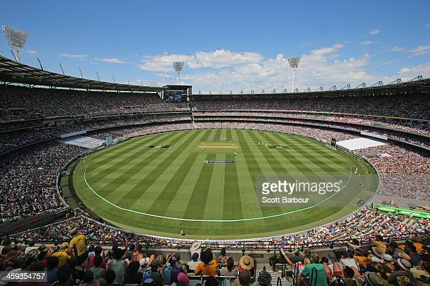 A general view of the crowd of 91092 spectators a new world record during day one of the Fourth Ashes Test Match between Australia and England at...