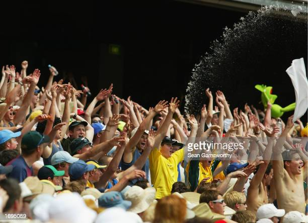 A general view of the crowd showing their support during the One Day International match between Australia and England held at the Melbourne Cricket...