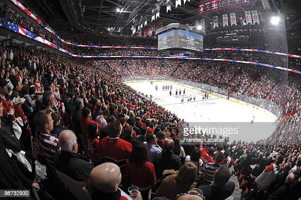 General view of the crowd standing for the National Anthems before Game Six of the Eastern Conference Quarterfinals during the 2010 NHL Stanley Cup...