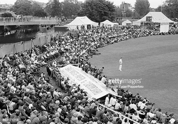 A general view of the crowd watching the Gillette Cup Quarter Final between Essex and Lancashire at the County Ground Chelmsford 30th June 1971
