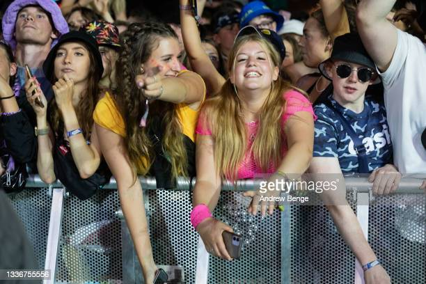 General view of the crowd while Liam Gallagher performs on the main stage during Leeds Festival 2021 at Bramham Park on August 27, 2021 in Leeds,...