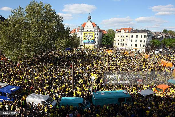General view of the crowded Borsigplatz during a parade at Borsigplatz celebrating Borussia Dortmund's Bundesliga and DFB Cup win on May 13 2012 in...