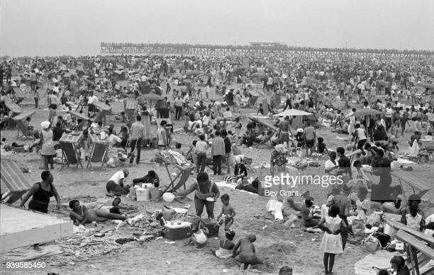 General view of the crowded Coney Island Beach Brooklyn New York New York July 4 1968