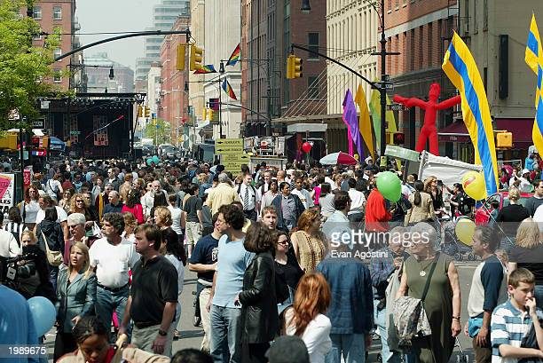 General view of the crowds at the Tribeca Film Festival family festival street fair May 10, 2003 in New York City.