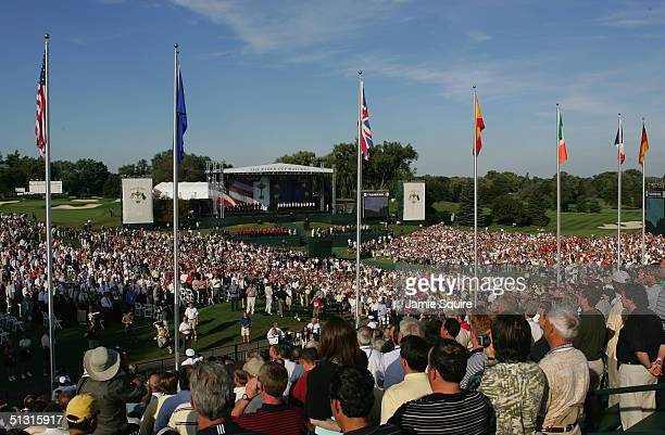 A general view of the crowds during the Opening Ceremonies for the 35th Ryder Cup Matches at the Oakland Hills Country Club on September 16 2004 in...