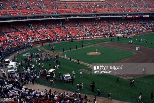 General view of the crowds in Candlestick Park after an earthquake, measuring 7.1 on the richter scale, rocks game three of the World Series between...
