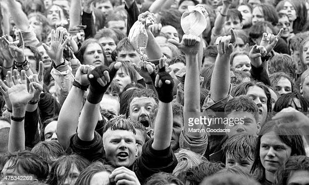 A general view of the crowds in the audience at Monsters of Rock Festival Donington Park United Kingdom 1994