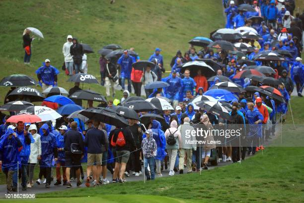 General view of the crowds standing in the rain during day three of the Nordea Masters at Hills Golf Club on August 18 2018 in Gothenburg Sweden
