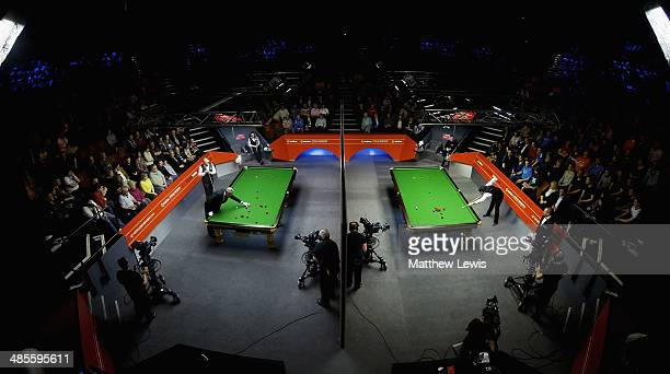 A general view of the Crucible Theatre during the first day of the The Dafabet World Snooker Championship at Crucible Theatre on April 19 2014 in...