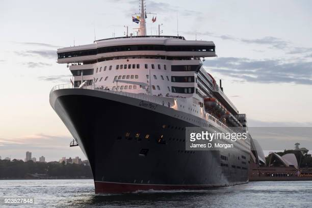 General view of the Cunard ocean liner Queen Mary 2 on arrival into Sydney Harbour on her world cruise from Southampton, England on February 24, 2018...
