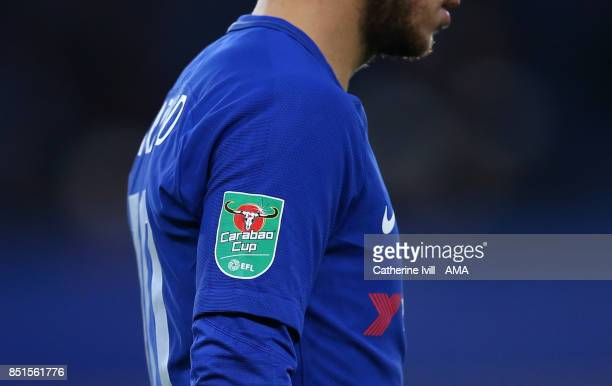 General view of the cup logo / badge on a players sleeve during the Carabao Cup Third Round match between Chelsea and Nottingham Forest at Stamford...