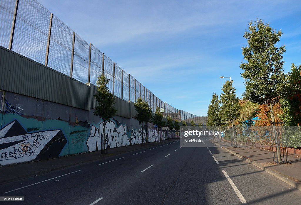A general view of the Cupar Way wall, in Belfast, Northern Ireland