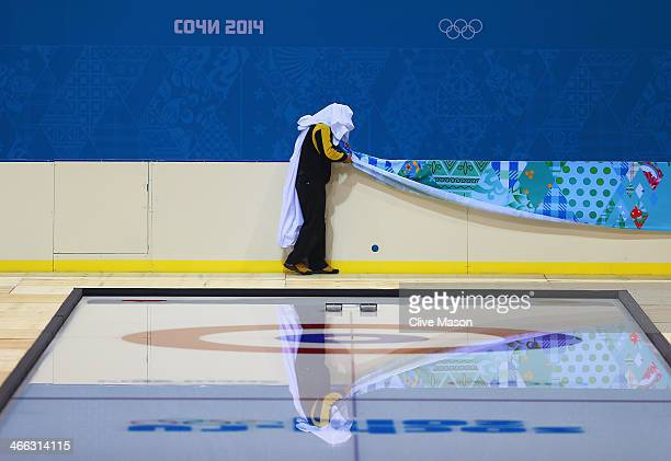 General view of the curling sheets at the Ice Cube Curling Center prior to the Sochi 2014 Winter Olympics at the Olympic Park on February 1, 2014 in...
