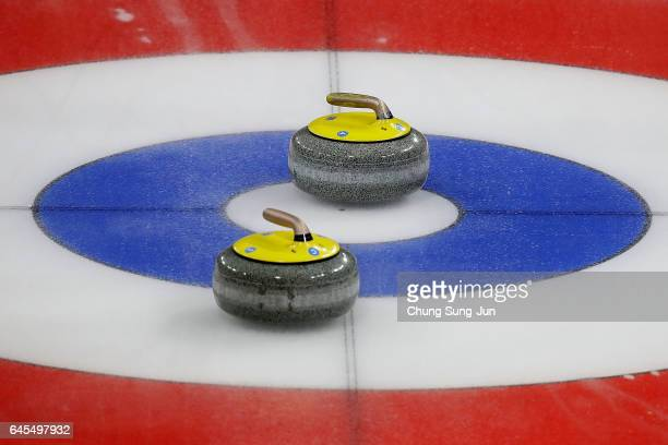 A general view of the curling stones during the Men's Gold Medal match between South Korea and United States during the VolP Defender World Junior...