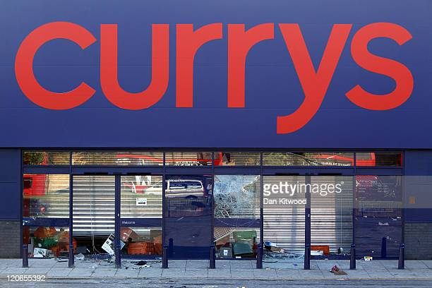 A general view of the Currys electrical store in Brixton after looting on August 8 2011 in London England Widespread rioting and looting took place...
