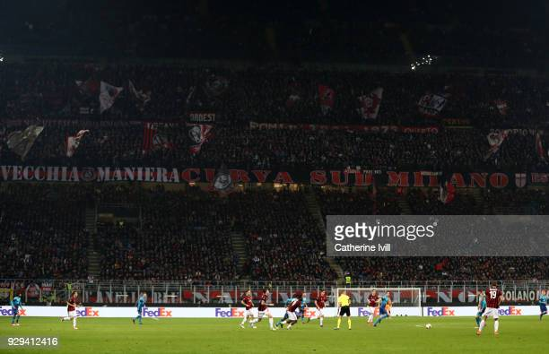 General view of The Curva Sud during the UEFA Europa League Round of 16 match between AC Milan and Arsenal at the San Siro on March 8 2018 in Milan...