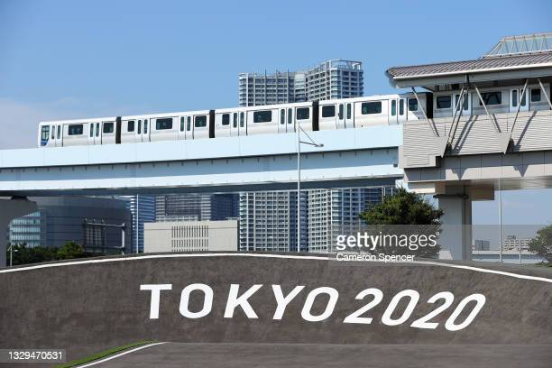 General view of the Cycling BMX racing venue at the Ariake Urban Sports Park ahead of the 2020 Tokyo Summer Olympic Games on July 19, 2021 in Tokyo,...