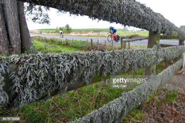 General view of the cycling leg through the Taupo Forest during the Taupo Ironman New Zealand on March 4 2017 in Taupo New Zealand