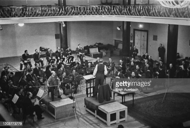 General view of the Czech Philharmonic rehearsing, circa 1935.