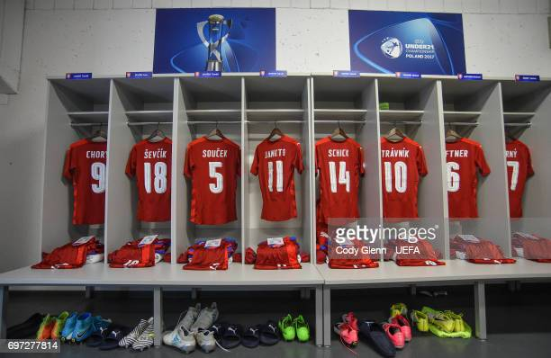 A general view of the Czech Republic dressing room ahead of their UEFA European Under21 Championship match against Germany on June 18 2017 in Tychy...