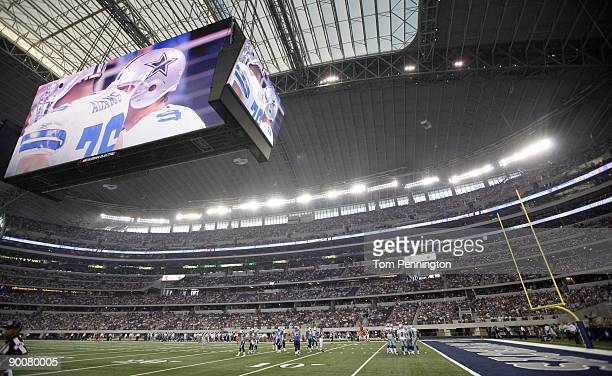 A general view of the Dallas Cowboys in the first quarter against the Tennessee Titans during a preseason game at Dallas Cowboys Stadium on August 21...