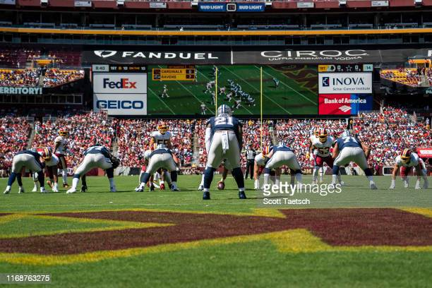 A general view of the Dallas Cowboys offense before the snap against the against the Washington Redskins during the first half at FedExField on...