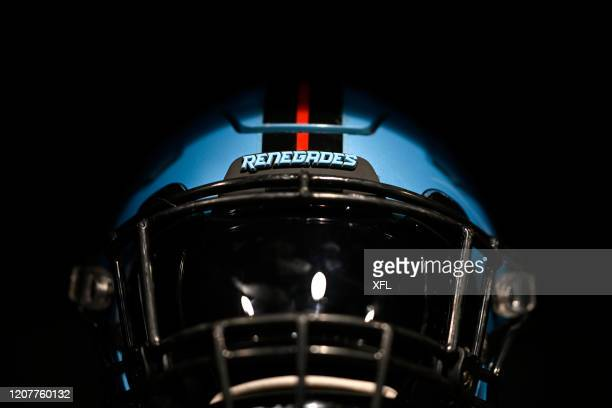 General view of the Dallas Renegades helmet before the XFL game against the St. Louis BattleHawks at Globe Life Park on February 9, 2020 in...