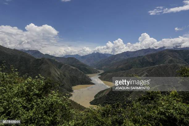 A general view of the Dam of the Hydroituango Hydroelctric Project on the Cauca river near Ituango municipality Antioquia department Colombia on May...