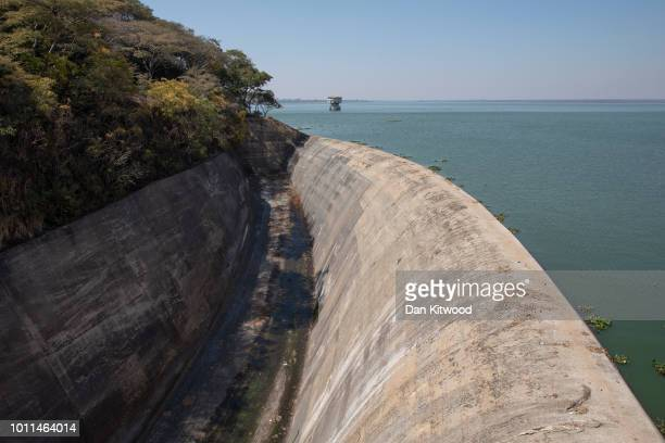 A general view of the dam wall at Lake Chivero on August 5 2018 in Harare Zimbabwe Lake Chivero is 32km South West of Zimbabwe's capital Harare and...