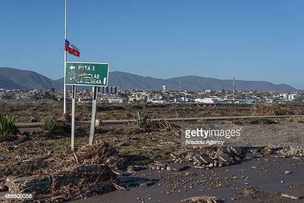 A general view of the damage caused by an earthquake reading magnitude 83 in Coquimbo some 445 km north of Santiago on September 17 2015 in Chile On...