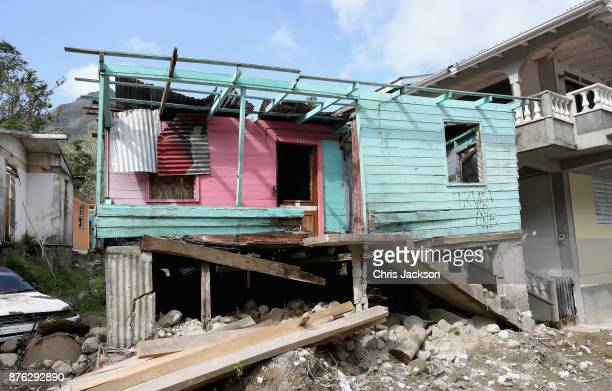 A general view of the damage caused by Hurricane Maria in Pichelin on November 19 2017 in Dominica The Prince of Wales is on a three day visit to the...