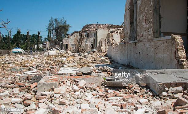 A general view of the damage caused to Villa Fini on July 9 2015 in Venice Italy A tornado swept through the outskirts of Venice touching the town of...