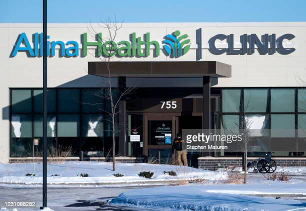 General view of the damaged exterior windows of the Allina Health Clinic where a shooting took place on February 9, 2021 in Buffalo, Minnesota. Five...