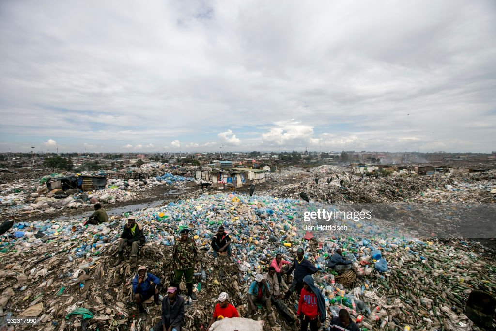 A general view of the Dandora rubbish field on March 14, 2018 in Nairobi, Kenya. The Dandora landfield is located 8 Kilometer east of the city center of Nairobi, the capital of Kenya. Every day, more than 2.000 metric tonnes of waste are dumped on this site. More than 3000 pickers work day by day at the sprawling 30-acre rubbish dump.