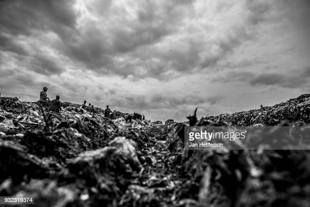 A general view of the Dandora rubbish field on March 14 2018 in Nairobi Kenya The Dandora landfield is located 8 Kilometer east of the city center of...