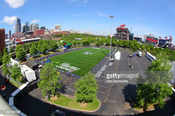 General View of the Danimals Play Football Field and Nissan Stadium prior to the 2019 National Football League Draft on the Draft Main Stage at First...
