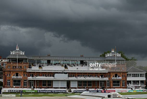 General view of the dark clouds behind the pavillion during day five of the 3rd Investec Test match between England and Sri Lanka at Lords Cricket...