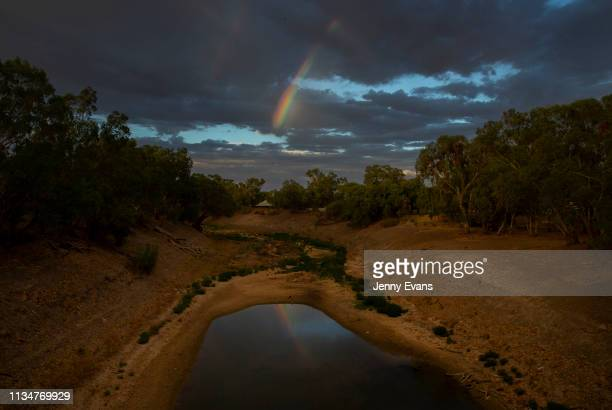 General view of the Darling-Barka river from the Wilcannia bridge on March 06, 2019 in Wilcannia, Australia. The Barkandji people - meaning the river...